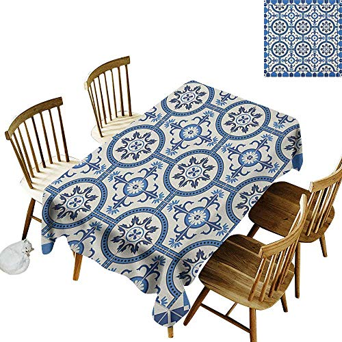 kangkaishi Easy to Care for Leakproof and Durable Long tablecloths Outdoor Picnic Oriental Turkish Style Inspired Arabesque Mosaic Motifs in Classic Retro Design W60 x L84 Inch Grey - Outdoor Tiffany Furniture Mosaic
