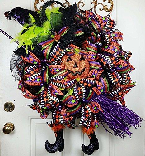 Handmade Halloween Witch Wreath - Purple Witch Wreath - Jack O Lantern Witch Wreath - Witch Broom and Legs Wreath - Halloween Mesh Door Decor