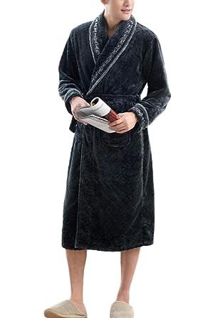 PFSYR Túnicas cálidas gruesas en otoño e invierno, Pijamas de hombre solapa con estilo Albornoz Ropa de hogar: Amazon.es: Ropa y accesorios