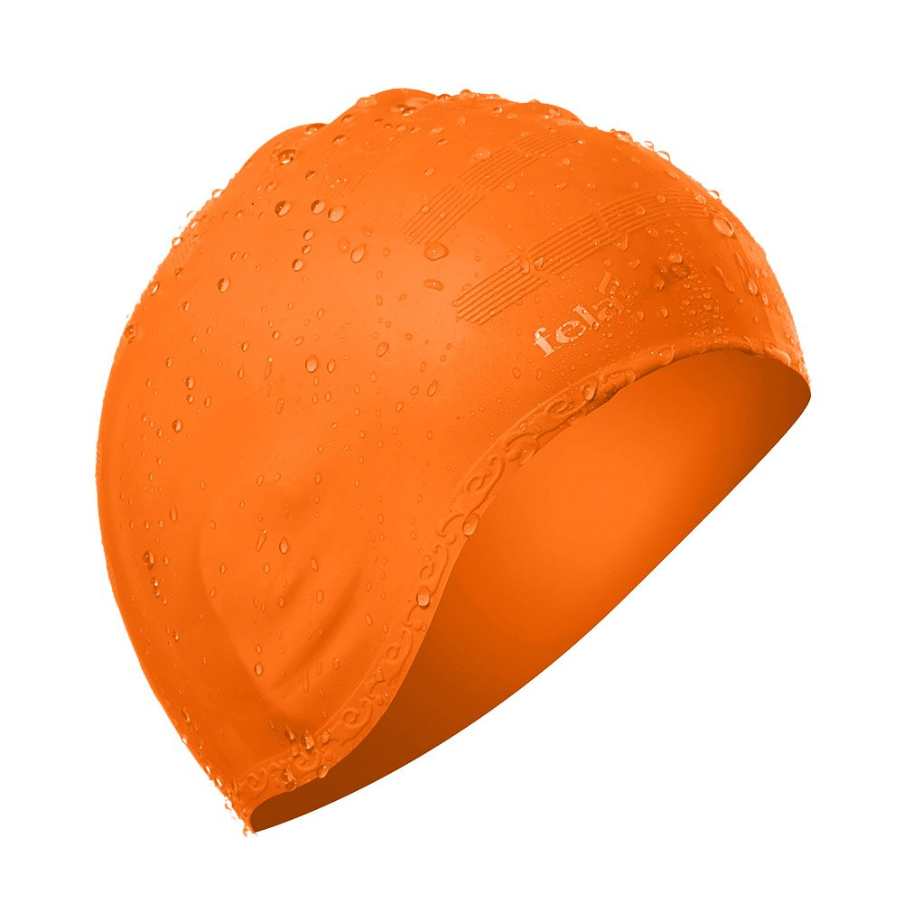 Felando Swimming Cap Silicone Swimming Cap Non-toxic Anti-Allergy Does Not Pull Hair with 3D Ergonomic Design Ear Pockets for Adult Woman and Men