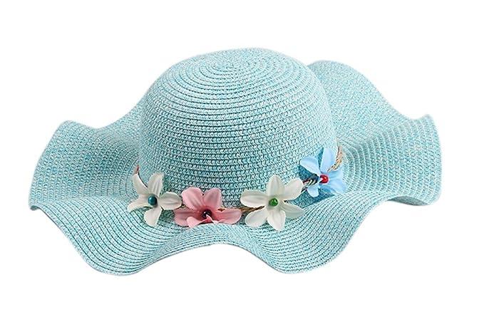 Dantiya-moda bambina e ragazza elegante cappelli da sole carino con fiori  (verde) cf73793a494d
