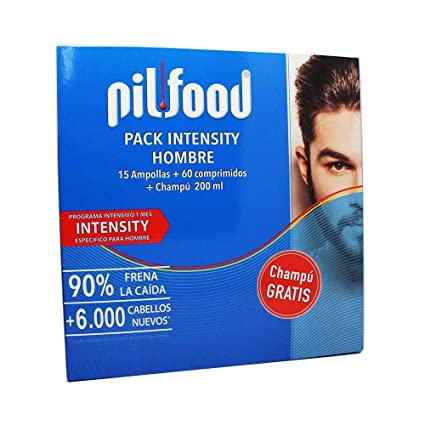 PILFOOD Pack Intensity Hombre 1 Mes(15 ampollas+60 comprimidos+Champú 200ml regalo