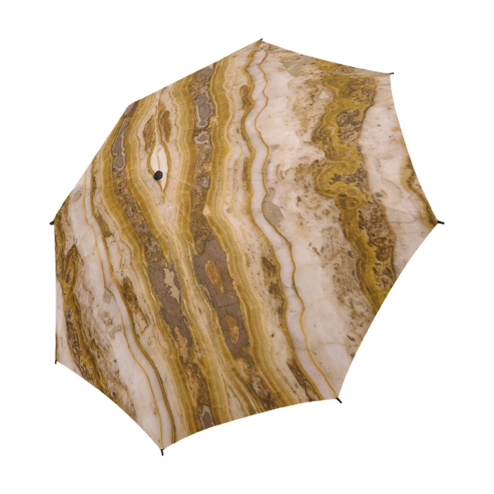 YUMOING Marble Wall Surface Pattern Texture Stone Unique Umbrella Semiautomatic Foldable Umbrella Foldable Travel Rainy Sunny Gift