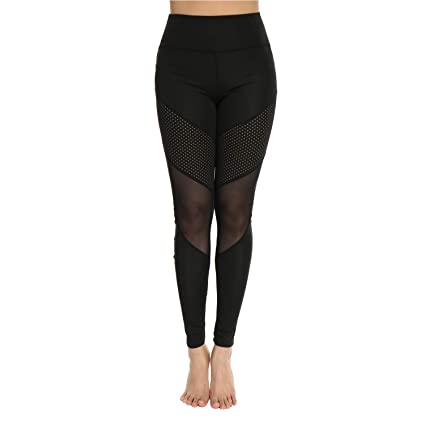 6a2d06bce9 Amazon.com : RIOJOY High Waisted Mesh Women's Yoga Pants Slimming Tummy  Control Gym Leggings Workout Running Tights 4 Way Stretch : Health &  Personal Care