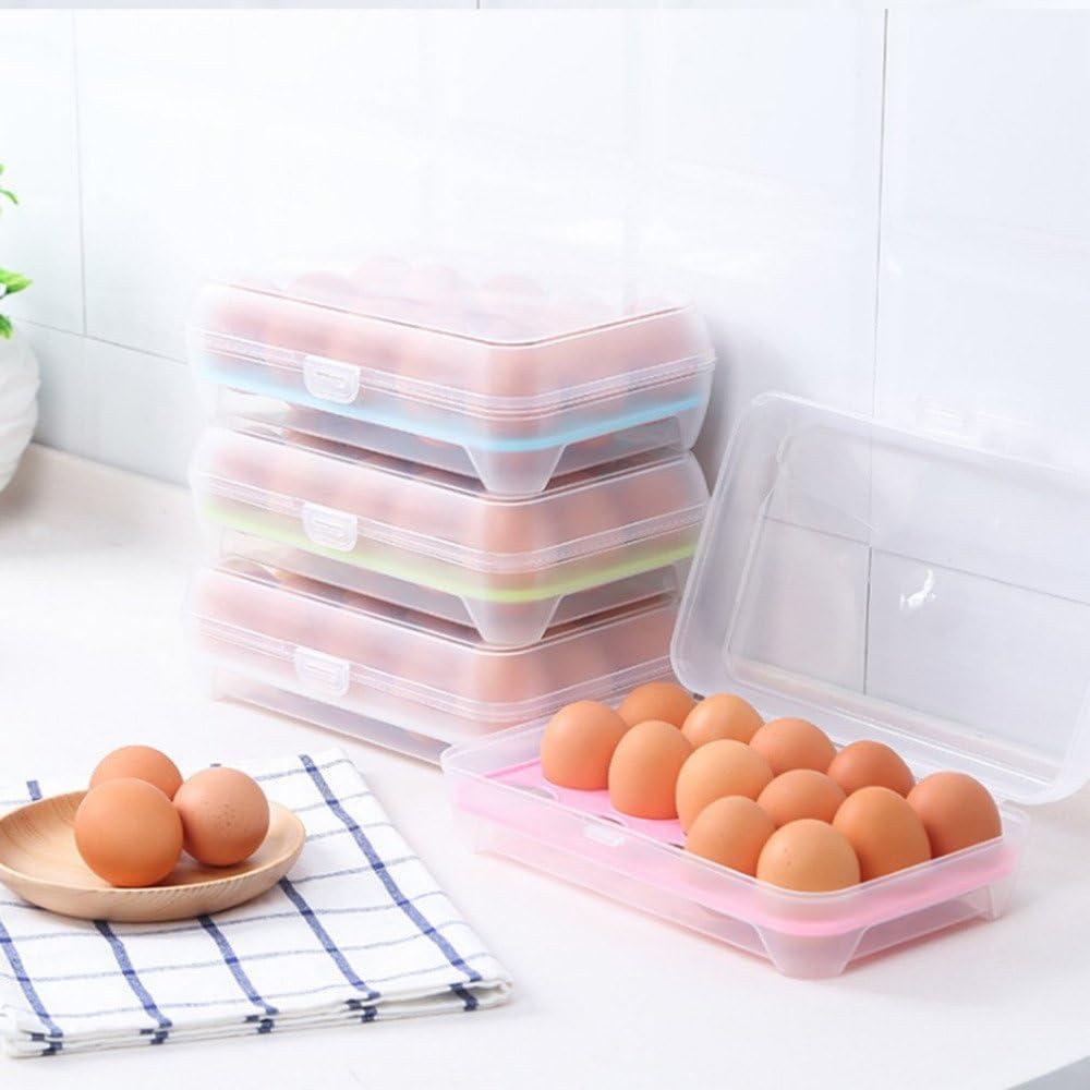 maxgoods 15-Fach Eierbox Eierkarton,Eierbeh/älter 23 7cm,Kunststoff Eierhalter,K/ühlschrank K/üche Eier Aufbewahrungsbox,Eier Frische Lagerung Box,Platzsparend Tragbare Plastik Eier Etui,Blau 14