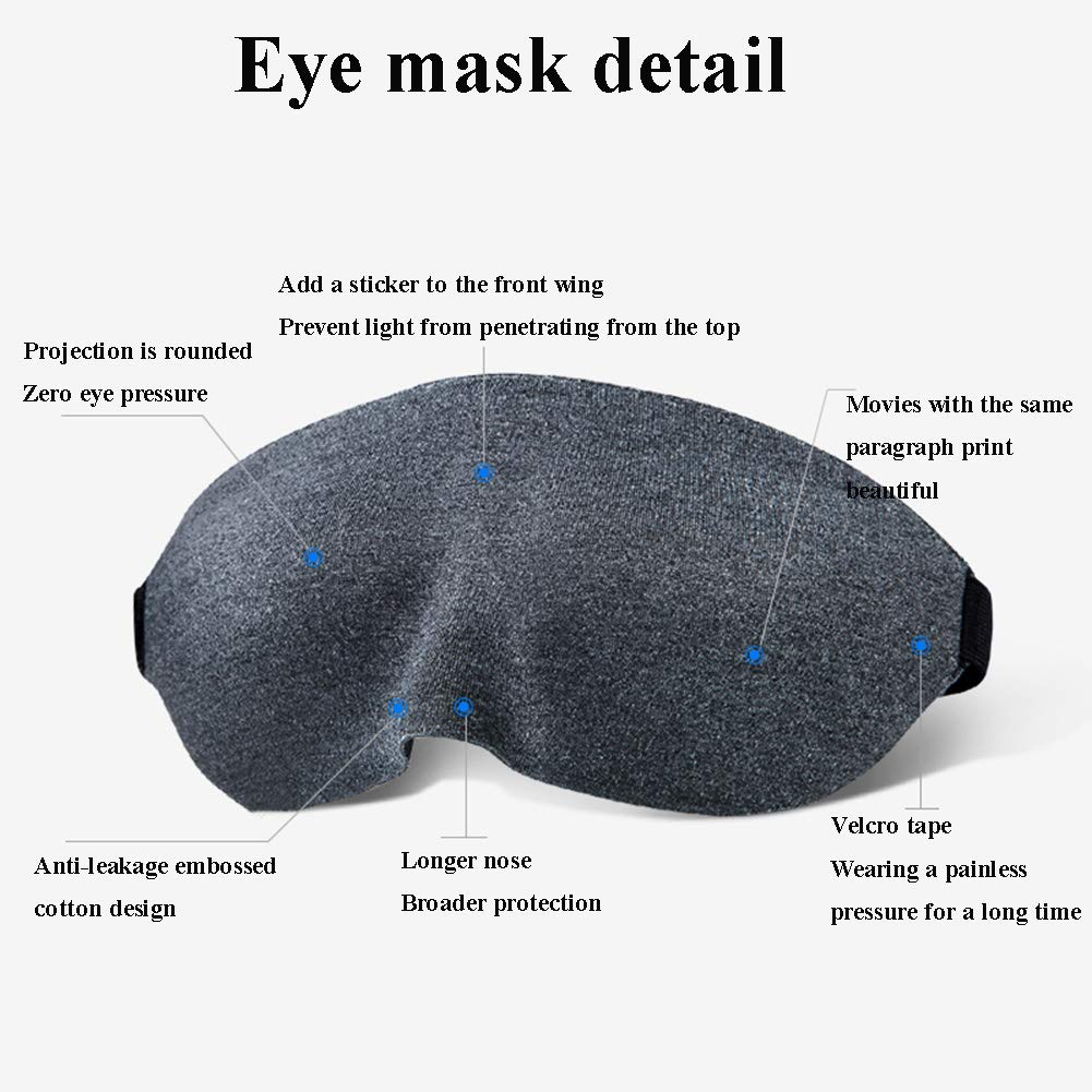 LTLGHY Antifaz para Dormir Espuma De Memoria Transpirable Y Ultra Suave M/áscara para Ojos para Dormir 3D M/áscara para Dormir con Ajustable Correa 100/% Anti-Luz Antifaces para Los Ojos