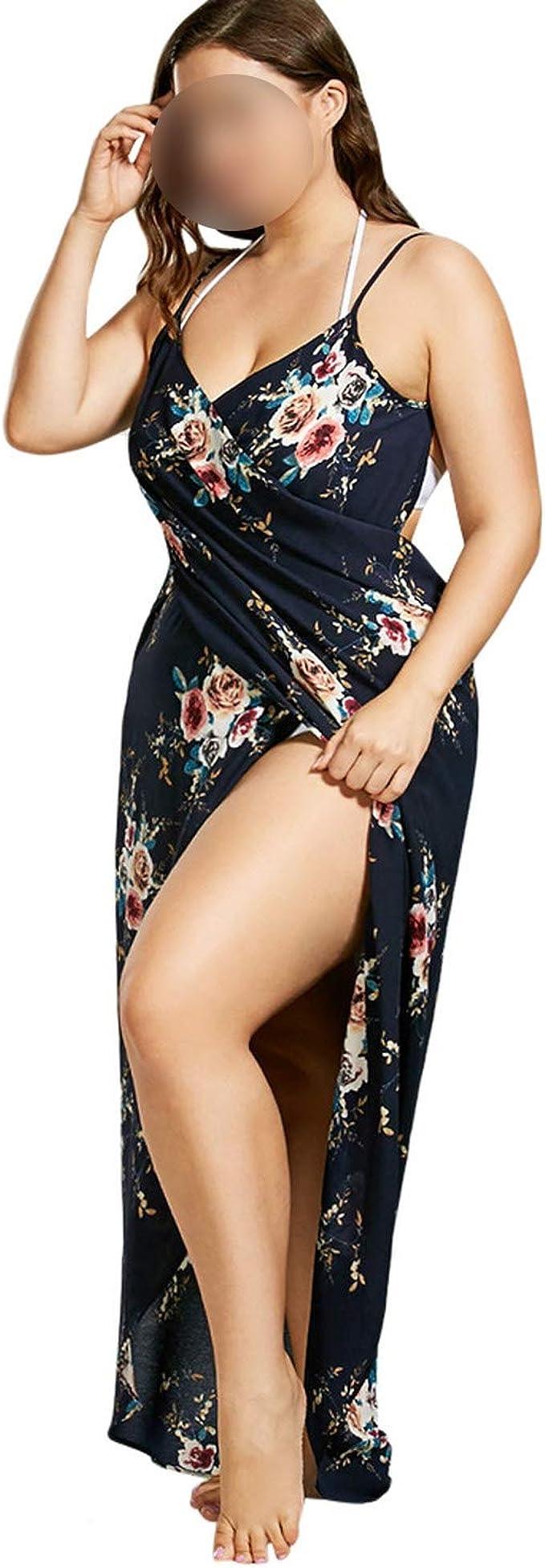 Plus Size 2019 Tiny Floral Cover Beach Up Wrap Slip Dress Tunic Robe De Plage Wear Women Beach Sarongs Bikini Cover 5XL