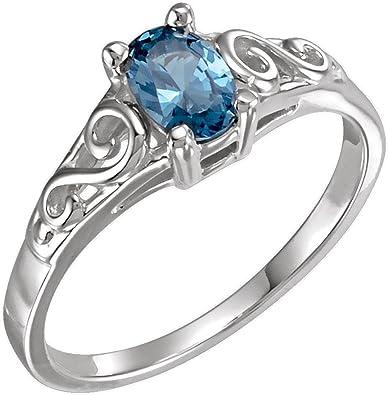 Size 3 Bonyak Jewelry Sterling Silver Blue Zircon Youth Heart Ring
