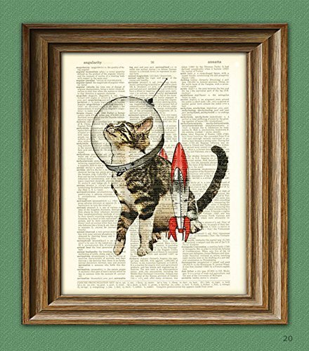 Astronaut Kitten is ready for takeoff retro Space Kitty Cat illustration beautifully upcycled dictionary page book art print