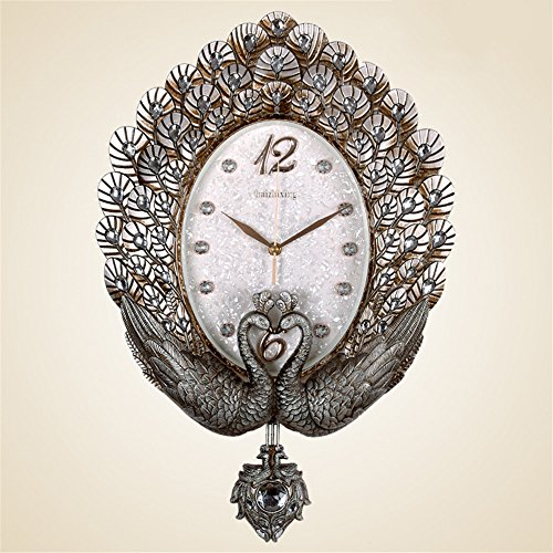 Znzbzt The Living Room Wall Clock Clock Peacock Mount Table Mute Large Antique Furniture Bedroom Decorating Ideas Wall Clocks /56x36cm