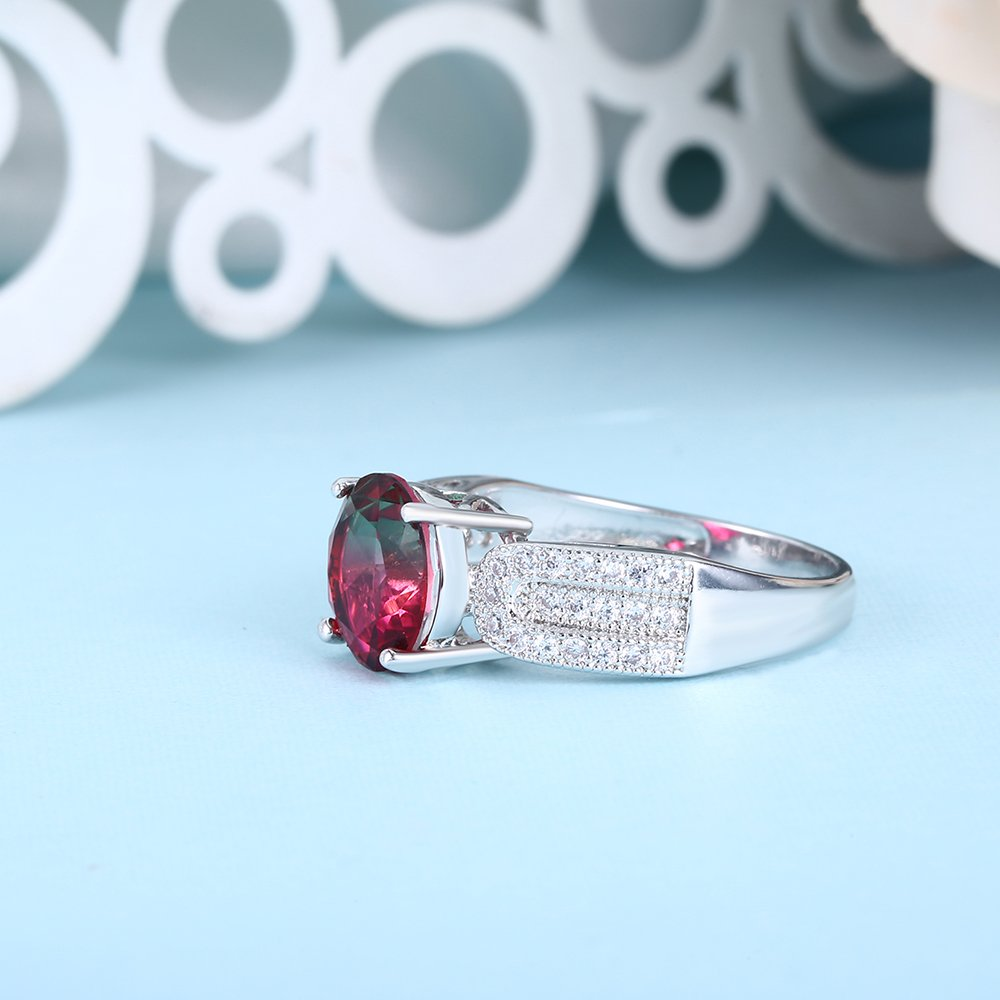 CZ Synthetic Quartz Watermelon Gradient Crystal Women Ring Rhodium Plated Size 6-9