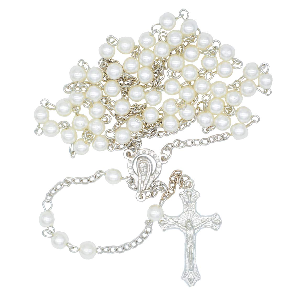Our Father Rosary Beads Catholic Pearl Rosary Necklace.Rosary Necklace.Rosary Catholic Rosaries Catholic.