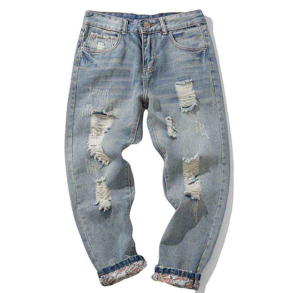 Molyveva Mens Skinny Slim Fit Stretchable Denim Jeans Hip Hop Pants