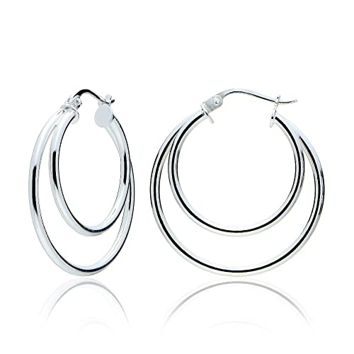 a25e1978b Amazon.com: Sterling Silver Double Circle Round-Tube Polished Hoop Earrings,  30mm: Jewelry