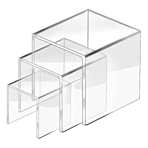 2 Set Acrylic Display Risers Display for Funko POP Figures, Jewelry Display Riser Shelf Showcase Fixtures, Clear Cake Stands for Candy Dessert Table Decorations-5