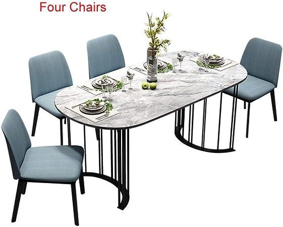 LGFSG Conjunto de Mesa Juego de Comedor Muebles para el hogar Mesa y sillas de mármol Modernas , Mesa Rectangular, 4 sillas: Amazon.es: Hogar