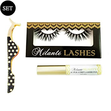 Milanté BEAUTY Seductive Real Mink False Lashes Black Natural Thick Long Full Reusable, Eyelash Applicator