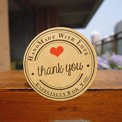 Set of 120 Thank You Round Kraft Paper Sticker Labels Packaging Seals Crafts Wedding Favor Tag Toppers