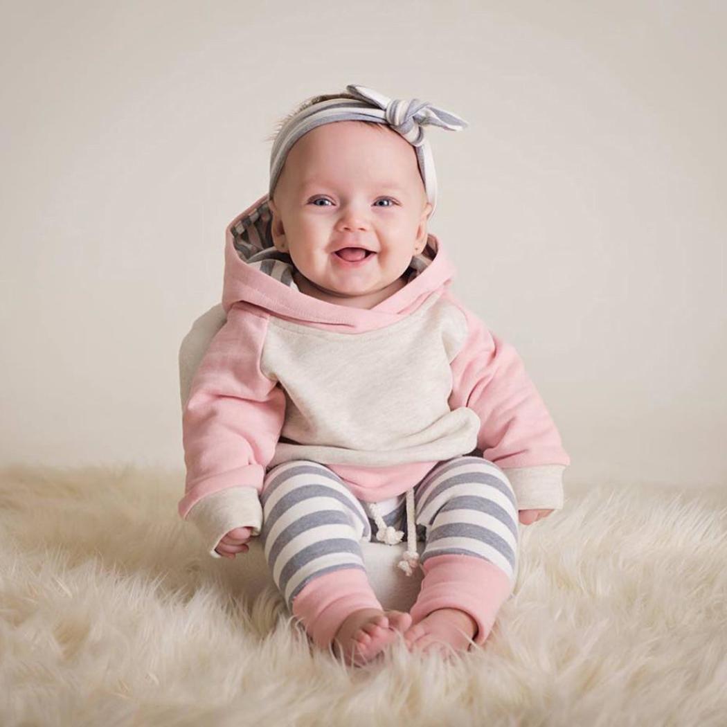 new style a5147 99017 Neugeborene Kleidung Babykleidung Kleinkind Kleinkind Baby Junge Mädchen  Kleider Set Kapuzenpullover Tops + Hosen Outfits Weich Baby Strampler  Mädchen ...