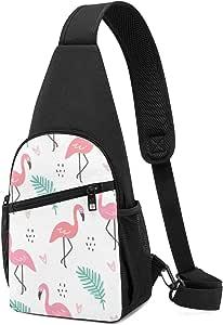 Flamingo - Mochila bandolera con patrón de color blanco, ligera, para el hombro, bolso bandolera, para viajes, senderismo, para hombres y mujeres