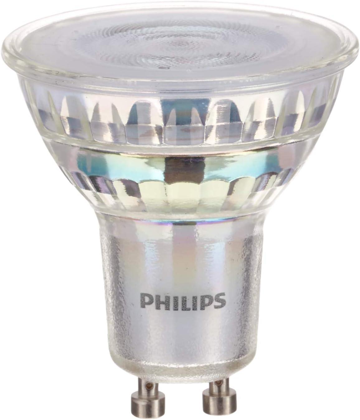 Philips - LED Gu10, 3.8 W Equivalente a 50 W, 345 Lumen, Regulable, Blanco Cálido, Pack de 6 Bombillas
