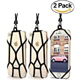 [2 Pack] Universal Smartphone Lanyard Strap, seOSTO Phone Necklace Holder Sling Wrist Detachable Case For iPhone 7/7 Plus Samsung Galaxy S7 All Size Cell Phone Beetlee Series (Black)
