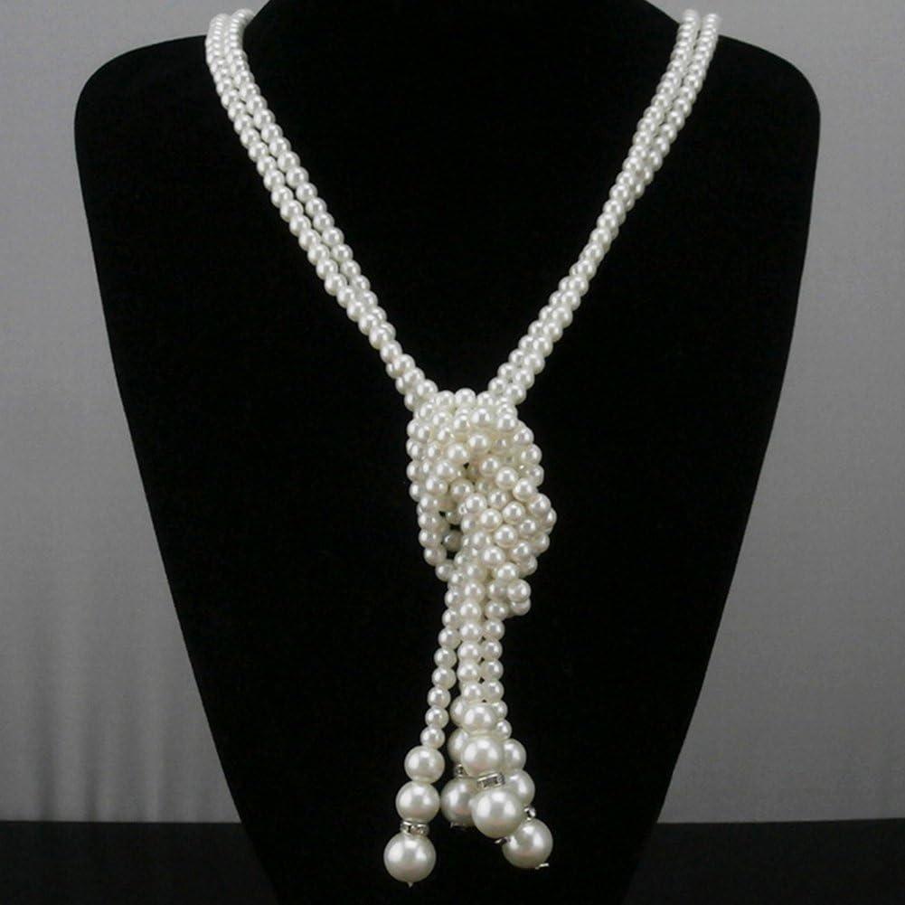 La Cabina Collier Cravate Fantaisie Collier Perle D/écoration V/êtement en Laine pour La Femme et Fille Participer La F/ête Collier Multilayer et R/églable