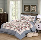 Elegant 3-Piece Patchwork Quilt Set with Shams Soft All-Season Cotton Bedspread & Coverlet Plaid Design with Delicate Romantic Rose Pattern,Round Corner,Full/Queen,90