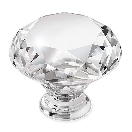 Cauldham 25 Pack Premium Glass Crystal Kitchen Cabinet Knobs Pulls 1 5 8 Diameter Dresser Drawer Door Hardware Style C444