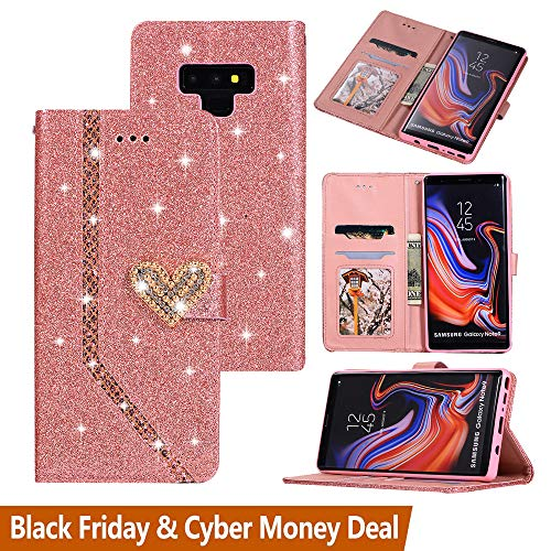 Black Friday Cyber Monday Deals-Galaxy Note 9 Glitter Wallet Case-Note 9 Bling Slim Flip Phone Case Card Holder Cash Pocket Purse [Crystal Heart Magnetic Closure] (Galaxy Note 9, Rose Gold)