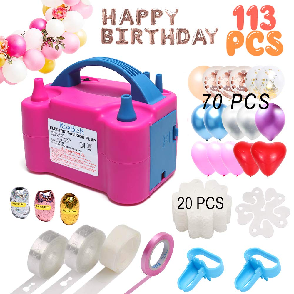 Electric Balloon Air Pump Blower 110V 600W Portable Dual Nozzles Electric Balloon Air Pump Electric Balloon Inflator with 70 PCS Balloons, Tying Tools, 20 Flower Clips, Tape Strip, Colored Ribbon and Dot Glues for Party Decoration by KOSBON (Image #1)