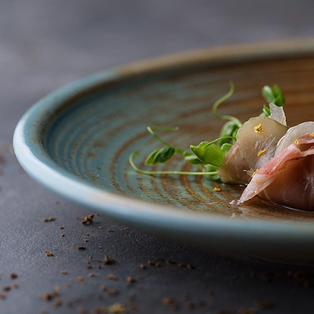 He Xiang Ya Shop Ceramic soup plate deep dish retro round fruit salad plate Flat dish steak plate 20.5 cm (8 inches) by He Xiang Ya Shop (Image #5)