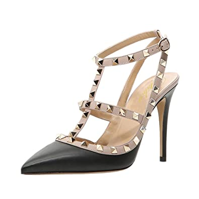 294215b4165c01 Lutalica Women Sexy Ankle Straps Sandals High Heel Pointed Toe Studded  Stiletto Matte Black Shoes Size