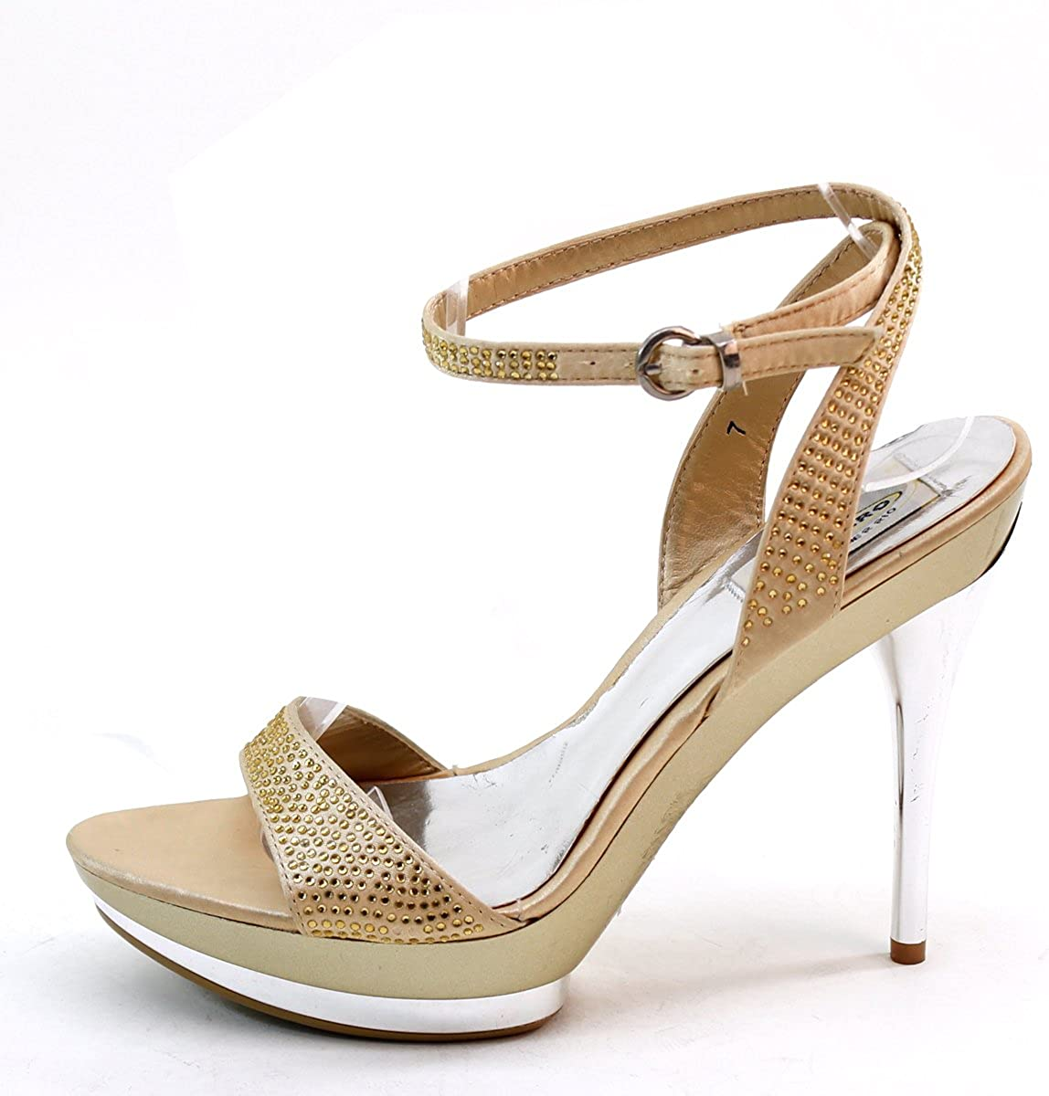 Brieten New Womens Bukle Rhinestone Ankle Strap Platform High Heel Sandals