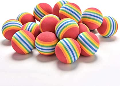 10 Pcs Rainbow Ball Dog Cat Kids Toys 35 mm Golf Practice Balls