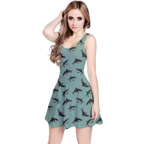CowCow Womens Pattern Sharks Reversible Sleeveless Dress