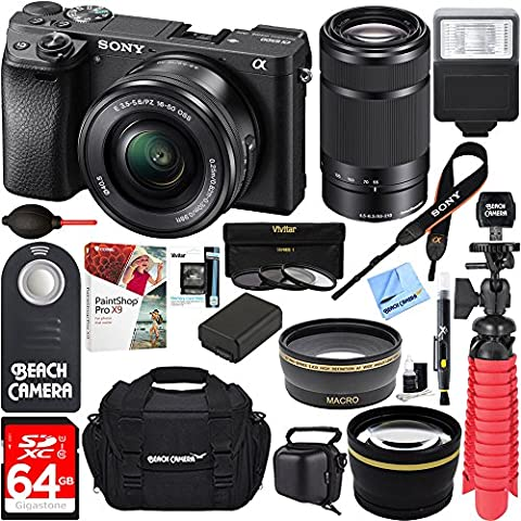 Sony Alpha a6500 24.2MP Wi-Fi Mirrorless Camera 16-50mm & 55-210mm Zoom Lens (Black) + NP-FW50 Spare Battery + Accessory - Sony 12 Inch