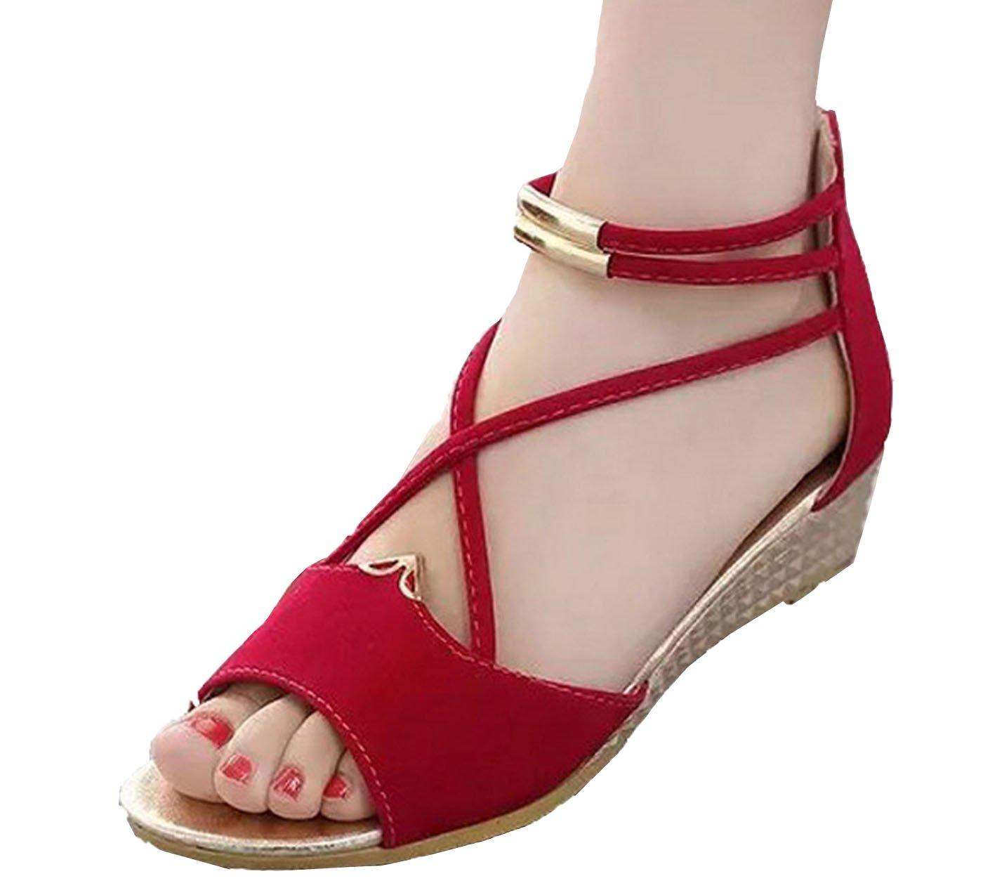Hee grand Women Roman Style Open Toe Cross Strap Flat Sandals US 8.5 Red