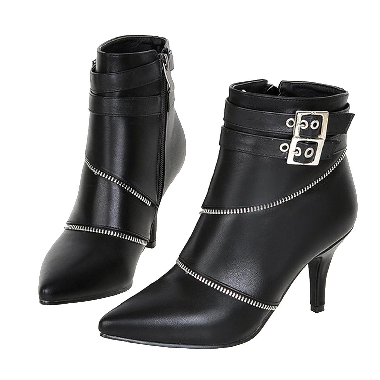 SHOWHOW Damen Sexy Klassischer Winter Boots Spitz High Heels Damenstiefel Schwarz 37 EU KZUKEXco