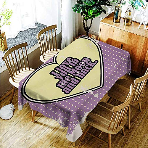 TT.HOME Anti-Fading Tablecloths,I Love You Vintage I Love You to The Moon and Back Typography in Cartoon Grunge,Table Cover for Kitchen Dinning Tabletop Decoratio,W54x72L,Pale Yellow Purple