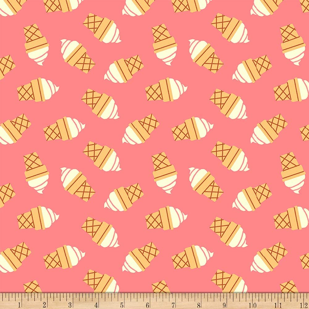 Fabri-Quilt Studios Food Truck Ice Cream Cones Pink, Fabric by the Yard