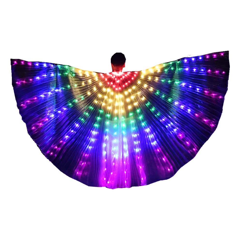 LED Isis Wings Glow Light Up Belly Dance Costumes with Sticks Performance Clothing Carnival Halloween Rainbow