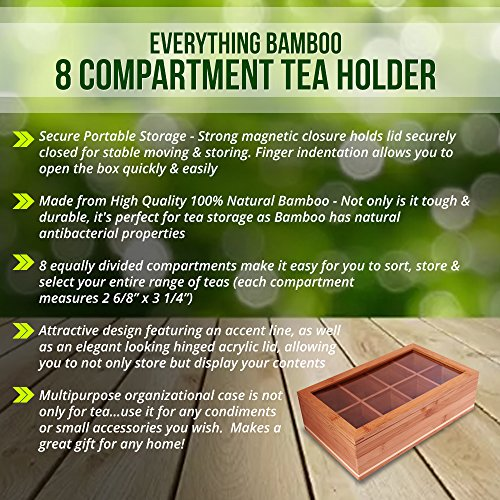 Everything Bamboo Wooden Tea Bag, Condiment or Small Accessories Storage Organizer Caddy with Clear Lid & 8 Compartments by Everything Bamboo (Image #3)