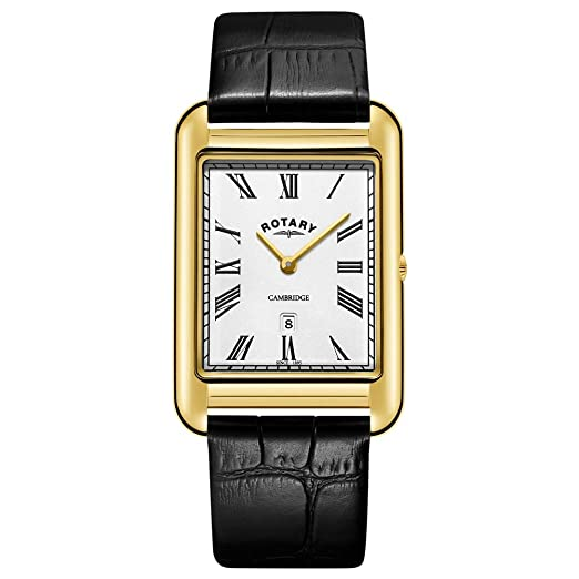 0b94353a8 Rotary Mens Cambridge Date Gold Square Black Leather Strap GS05283 ...