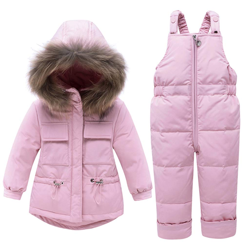 WESIDOM Baby Boys Girls Snowsuit,Toddler Winter Outfit Sets Kids Hooded Artificial Fur Down Jacket Coat and Ski Bib Pants Pink by WESIDOM