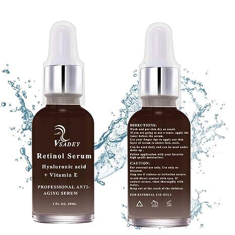 VSADEY Retinol Serum 2.5% Facial con Ácido Hialurónico, Vitamina E, Suero Antiedad y