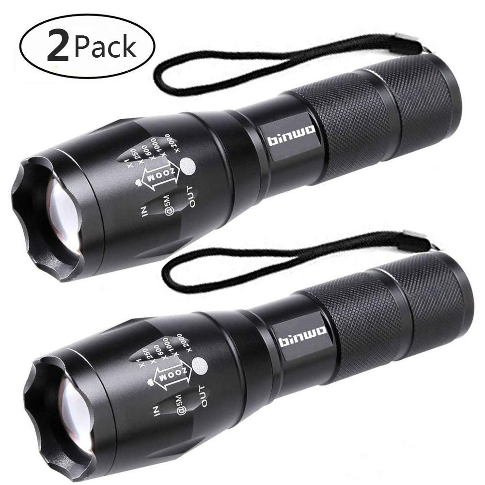 LED Tactical Flashlight, Binwo Super Bright 2000 Lumen XML T6 LED Flashlights Portable Outdoor Water Resistant Torch Light Zoomable Flashlight with 5 Light Modes, 2 Pack by BINWO
