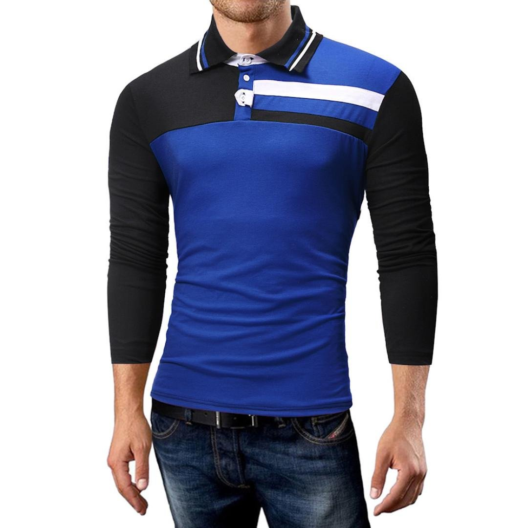 Clearance Sale! Wintialy Men's Autumn Casual Button Stripe Pullover Long Sleeve Shirt Top Blouse Tee