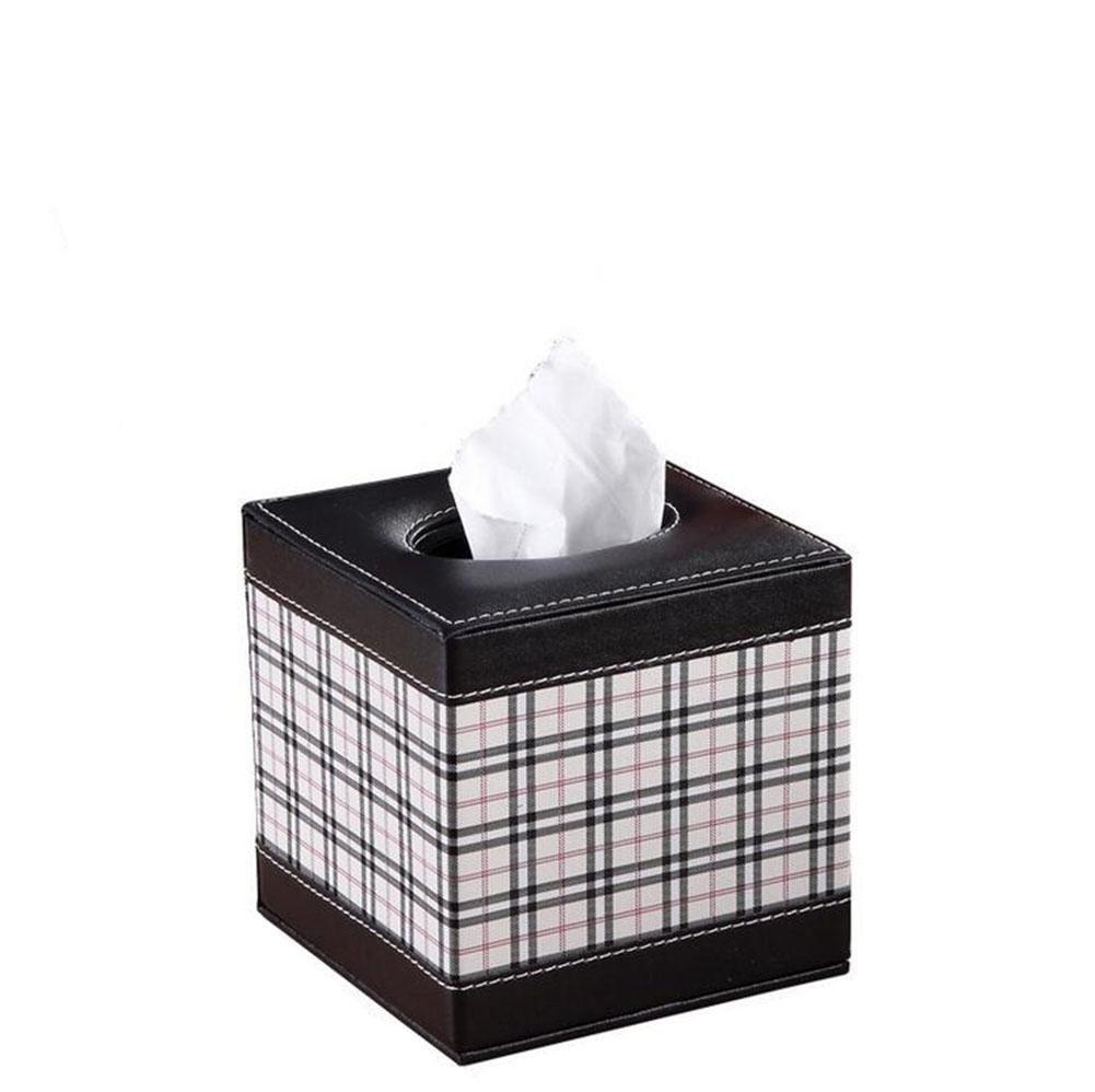 Rectangular Leather Facial Tissue Box Cover Home Office Decor , 002