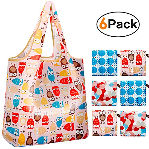 Reger Foldable Nylon Light Weight Compact Grocery Shopping Storage Bags Reusable & Machine Washable Fits in Pocket Eco Friendly Owls(Pattern 04, Pack of 6)